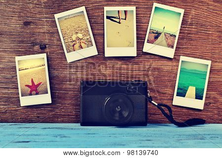 a retro camera and some instant photos of summer scenes, shot by myself, attached to a rustic wooden surface