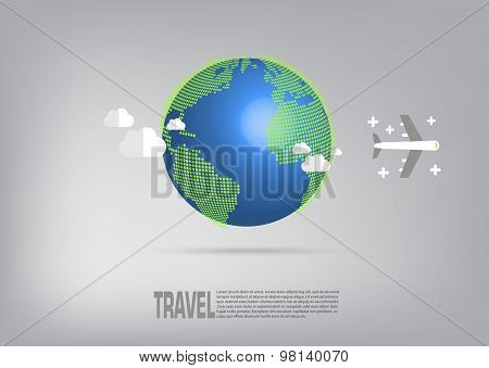 Airplane Travel On Light Grey Background.
