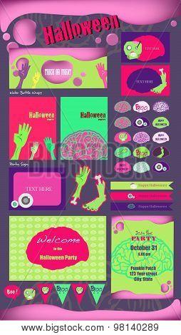 Set Of Happy Halloween Badges