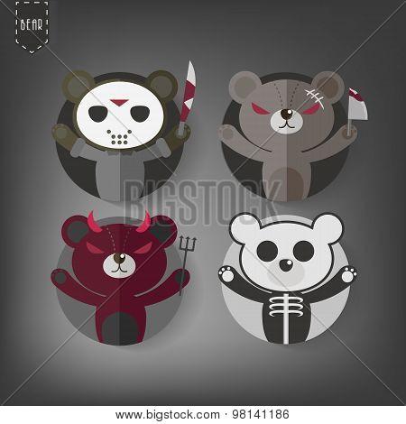 Flat Style Halloween Teddy Bear Vector Icon Set,dark Teddy Bear