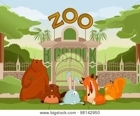 Zoo gate with animals