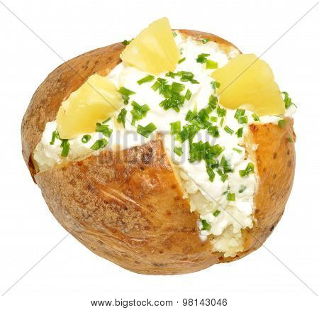 Cottage Cheese And Pineapple Filled Baked Potato