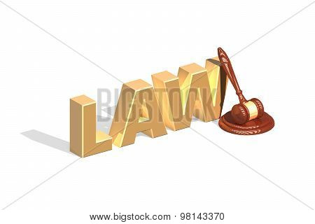 Gavel And Golden Paragraph Lying On Light Background