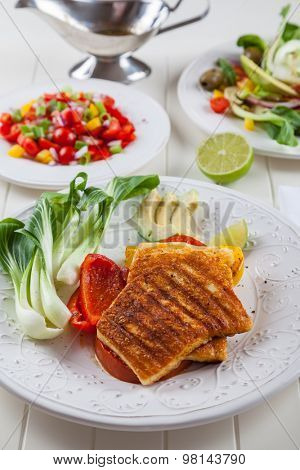 Grilled cheese with chinese cabbage and salsa salad for summer