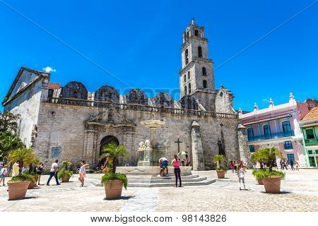 HAVANA, CUBA - CIRCA AUGUST 2015: San Francisco Plaza in Havana, Cuba