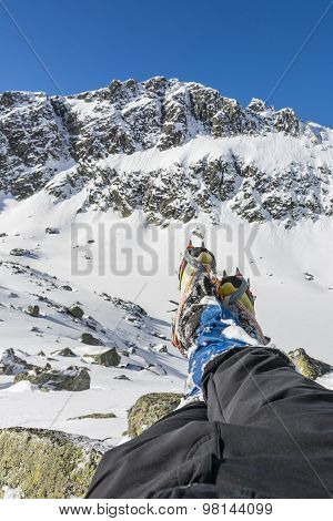 Hiking Boots With Crampons Semiautomatic