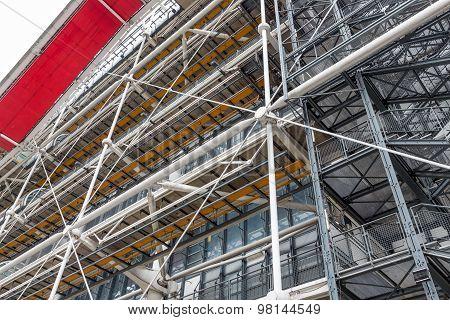 Facade With Escalators Of The Famous Centre Pompidou In Paris, France