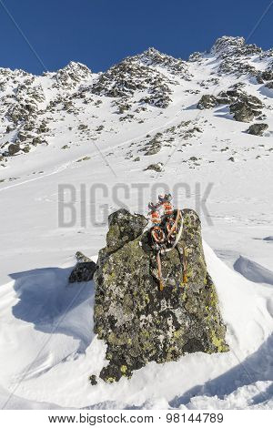 Crampons On A Boulder