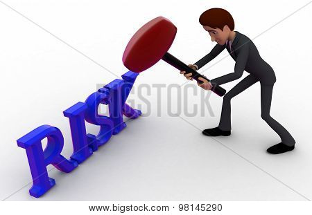 3D Man Hit Risk Text With Hammer Concept