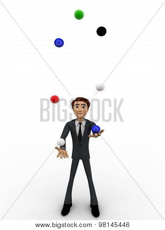 3D Man Juggle Colourful Balls Concept