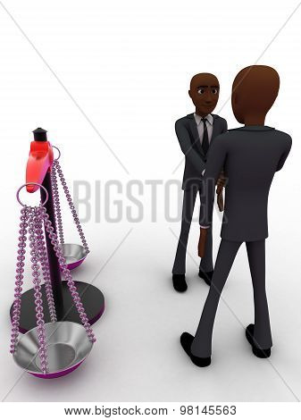 3D Men Shaking Hands With Weight Balance Scale Concept
