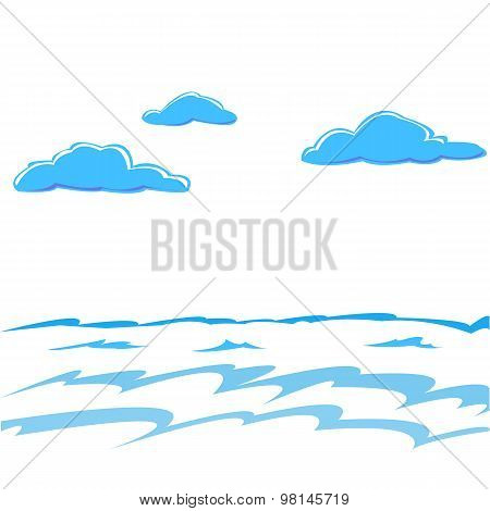 Sea Waves And Cumulus Clouds Over Water