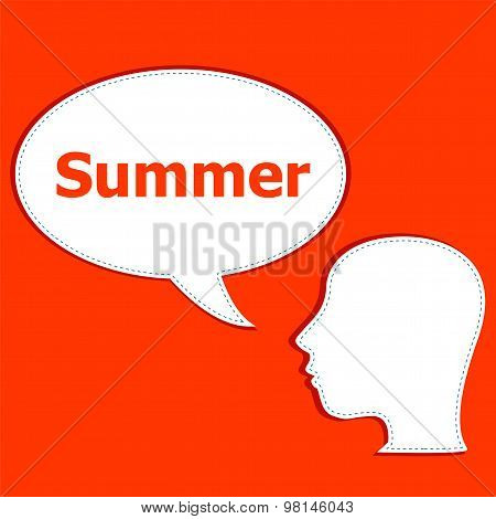 People Think About Summer, Man And Speech Bubbles