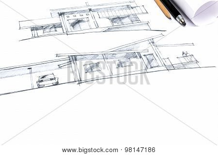 Hand Drawing Of A House Exterior