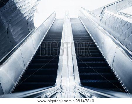 Escalator Of Modern Building Blue Toned Images