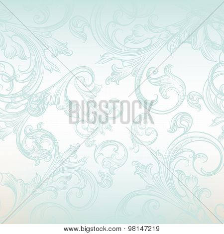 Vector Seamless Pattern For Design With Floral Swirls