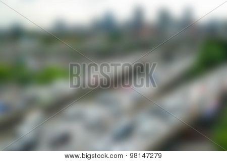 Blurred Daytime And Transportation In Bangkok City Thailand