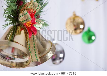 Christmas Background, Bell Decorate On White Curtain
