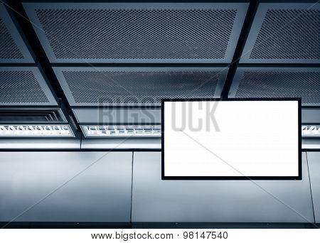 Blank Lcd Screen Display Mock Up Banner In Subway Station