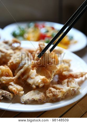 Chinese cooking fried food