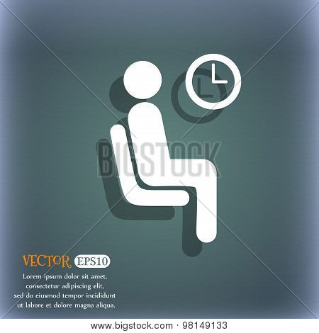 Waiting Icon Symbol On The Blue-green Abstract Background With Shadow And Space For Your Text. Vecto