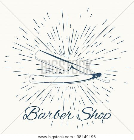straight razor and vintage sun burst frame. Barbershop emblem