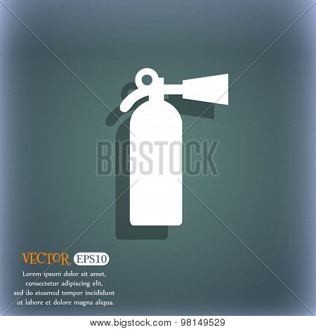 Extinguisher Icon Symbol On The Blue-green Abstract Background With Shadow And Space For Your Text.