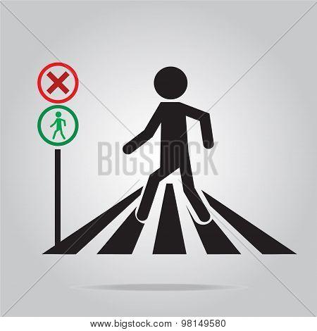 Pedestrian Crossing Sign, School Road Sign Illustration