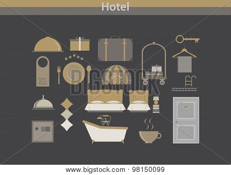 Hotel,Travel and Vacation, icons set - Retro color version