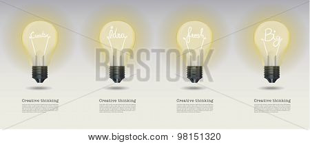 Vector Realistic Glowing Light Bulb.set Of Creative Bulb.cretive Bulb,idea Bulb