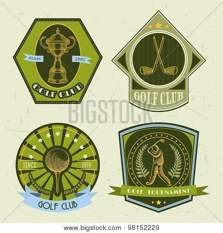Set of golf club logo templates.Vintage sport labels with golf ball, championship cup, putter and go