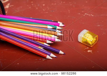 Colorful Pencils On Desk