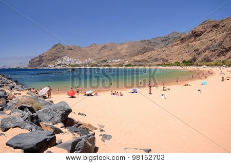 picturesque gorgeous view on Teresitas beach on Tenerife island, Spain