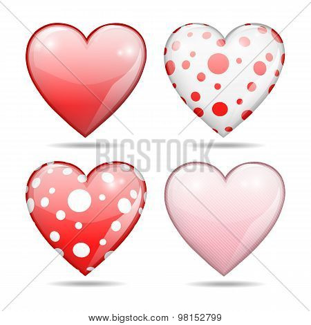 four glossy hearts, Valentine concept