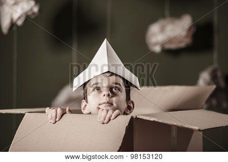 Cute Boy In Paper Box