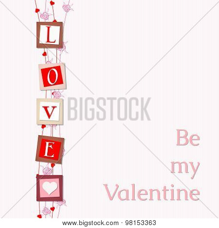 valentine card with abstract letters love