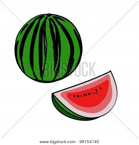 Watermelon, Slice (simple Sketch)