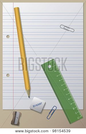 Paper, Pencil, Eraser, Pencil Sharpener, Ruler and Clips
