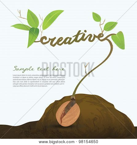Creative seed idea abstract info graphic, concept image of small plant sprout, Vector illustration.