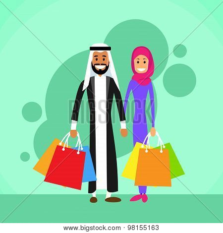 Arab Man and Woman Shopping Arabic Couple