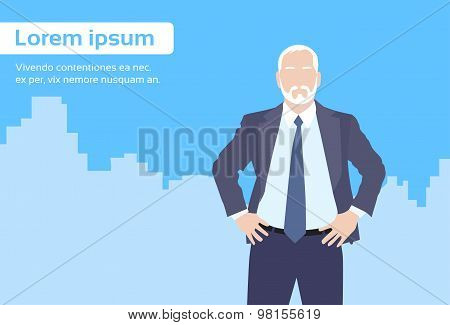 Businessman Senior Boss Business Owner Cartoon City Skyscraper