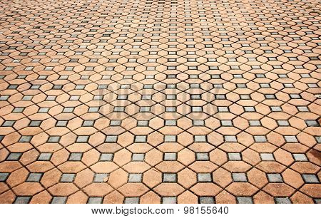 Cement Block Floor With Square And Hexagon Pattern