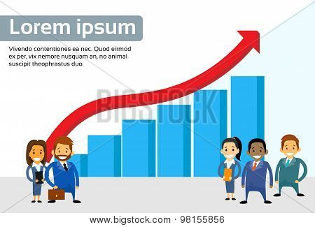 Business People Standing Financial Bar Graph Red Arrow