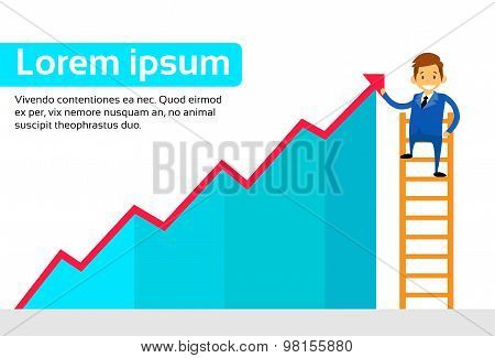 Businessman Standing on Ladder Show Graph Red Up Arrow