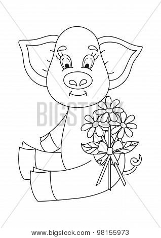 Vector illustration of cute pig giving bouquet of camomiles