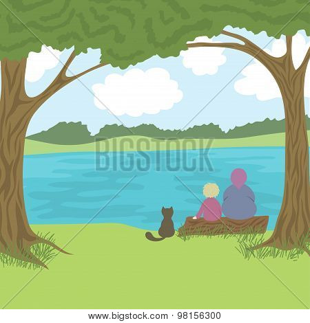 Beautiful landscape with grandmother, grandson and cat sitting on log and admire a nature