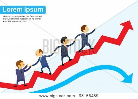 Business People Running Red Arrow Graph