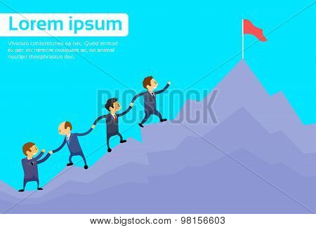 Business People Team Climbing Top Peak, Businesspeople Cartoon High Mountain