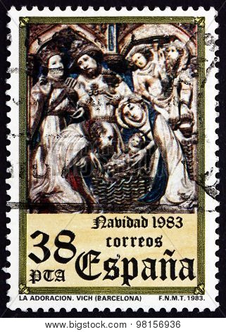 Postage Stamp Spain 1983 The Adoration, Vich