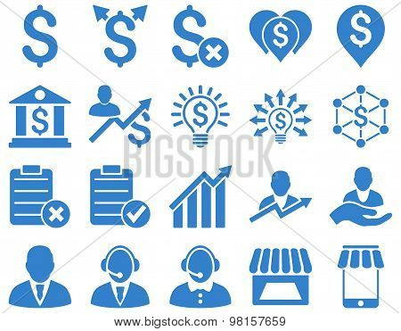 Trade business and bank service icon set